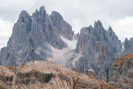 Tall towers of Cadini di Misurina in Dolomite Alps, Italy