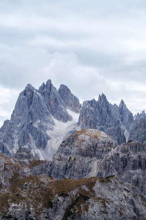 Tall towers of Cadini di Misurina in Dolomite Alps, Italy