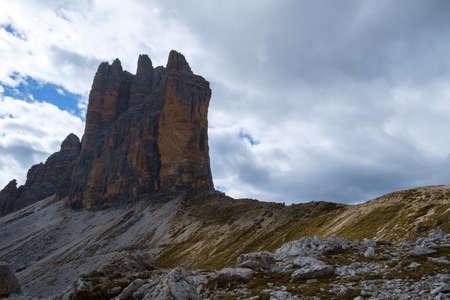 Tre Cime di Lavaredo  Drei Zinnen  foggy day in Dolomite Alps - Italy Europe