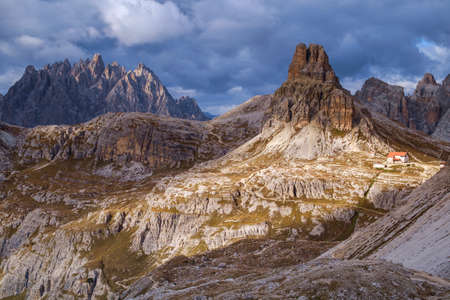 Dolomites mountain panorama and Locatelli Refuge,Tre Cime Di Lavaredo,Italy,Europe Stock Photo