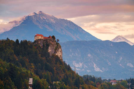 karavanke: Bled with lake, castle and mountains in background, Slovenia, Europe