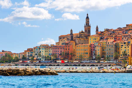 french riviera: Colorful old town Menton on french Riviera, France Stock Photo