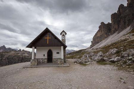 Mountain chapel near Tre Cime di Lavaredo in Dolomites Alps, Italy