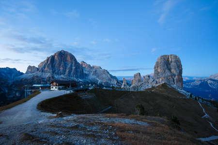 Cinque Torri rock formation under evening sun, Dolomite Alps, Italy