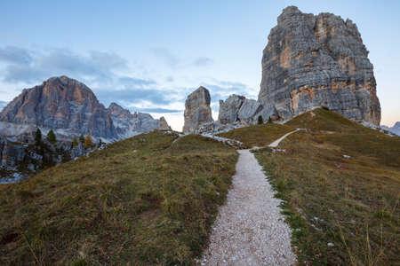 torri: Cinque Torri rock formation under evening sun, Dolomite Alps, Italy