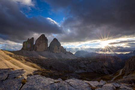 dolomite: Tre Cime di Lavaredo  Drei Zinnen  in Dolomite Alps - Italy. Europe