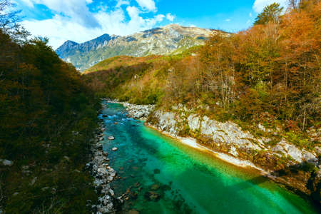 View of Soca river in Slovenia, Europe Stock Photo