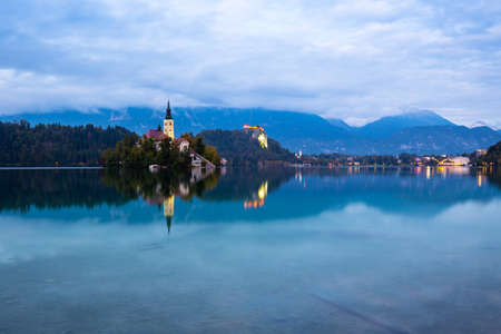 karavanke: Lake Bled with St. Marys Church of the Assumption on the small island; Bled, Slovenia, Europe. Stock Photo