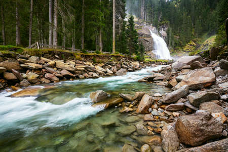 Krimml waterfall in mountains. National park Hohe Tauern, Austria, Europe