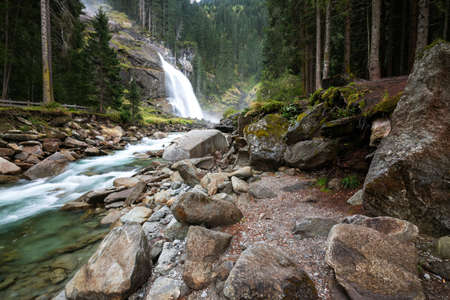 hohe tauern: Krimml waterfall in mountains. National park Hohe Tauern, Austria, Europe