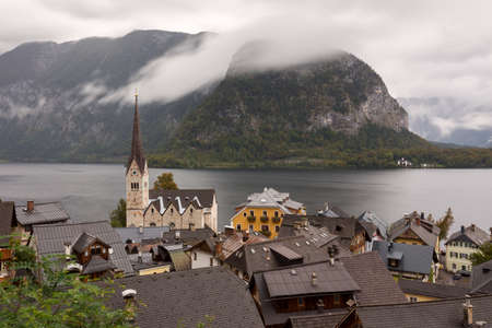 View of Hallstatt town with lake and mountains in the background, Austria