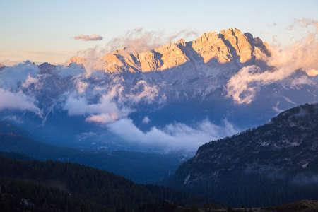 inversion: Beautiful sunrise on the Dolomites, Sudtirol, Italy Stock Photo