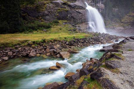 tauern: Krimml waterfall in mountains. National park Hohe Tauern, Austria, Europe