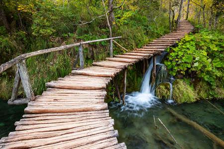 Waterfalls of Plitvice National Park in Croatia Stock Photo