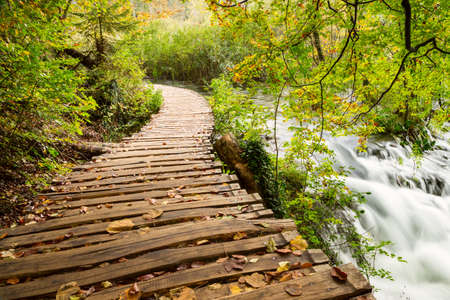 Rainy day and wooden tourist path in Plitvice lakes national park-Croatia