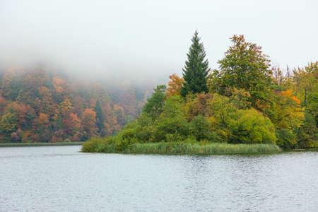 Autum forest lake Kozjak in Plitvice National Park in Croatia