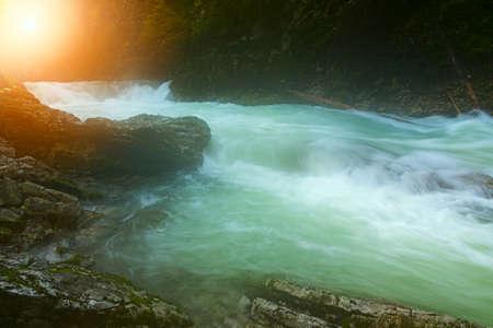 Beautiful famous Vintgar Gorge near Bled, Slovenia