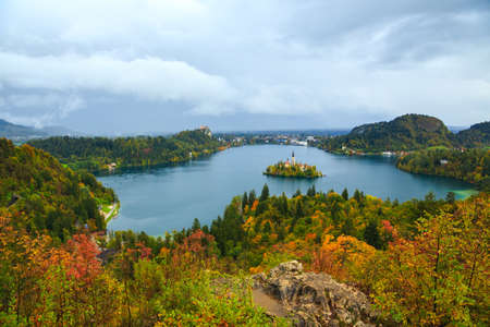 karavanke: Bled with lake, island and mountains in background, Slovenia, Europe