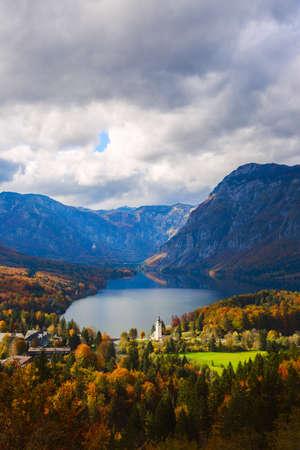 john the baptist: Aerial view of Bohinj lake in Julian Alps.  Popular touristic destination in Slovenia.