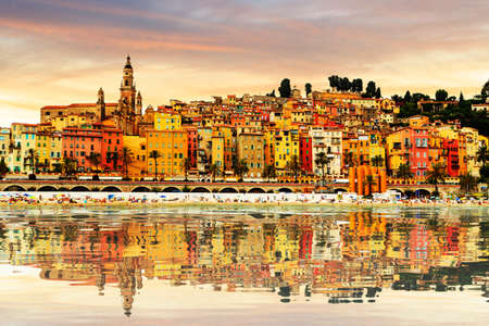 menton: Colorful old town Menton on french Riviera, France Stock Photo