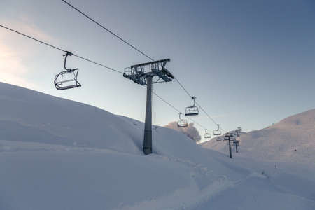 Ski Lift Chairs And Blue Sky Near Vogel Ski Center Slovenia Stock Photo    94120007