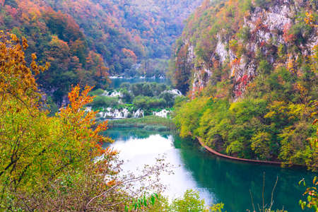 Top view of wooden ways in National Park Plitvice Lakes, Croatia