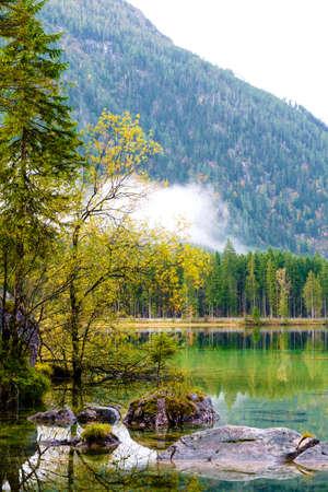 Wonderful autumn of Hintersee lake of Bavarian Alps on the Austrian border, Germany, Europe Stock Photo