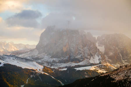 Beautiful view on Sassolungo (Langkofel), Dolomite Alps, South Tyrol, Italy.