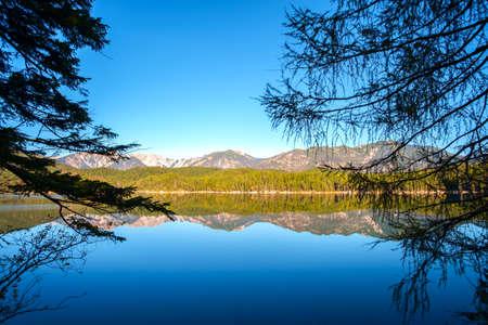 Wonderful autumn of Eibsee lake of Bavarian Alps in  Germany, Europe Stock Photo
