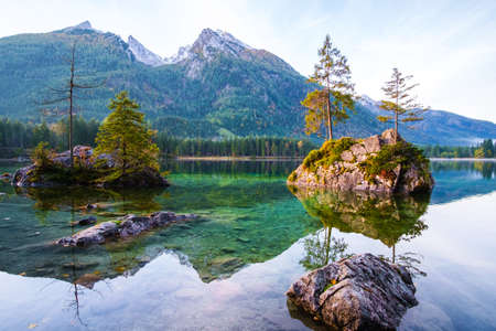 Wonderful autumn of Hintersee lake of Bavarian Alps on the Austrian border, Germany, Europe Stock Photo