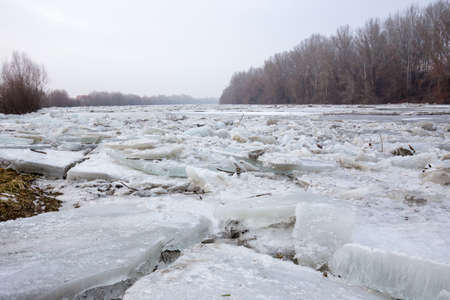 Spring flood, ice floes on the Tisza river in Hungary