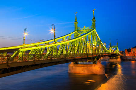 Beautiful night view of The Liberty Bridge in Budapest, Hungary