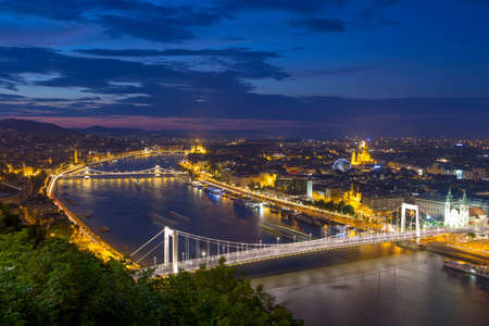 Aerial view of danube river and city view in Budapest, Hungary