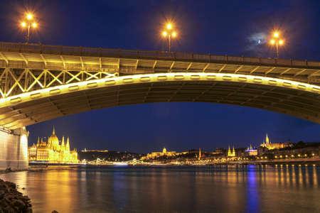 Beautiful Margaret bridge at dusk in Budapest - Hungary Stock Photo