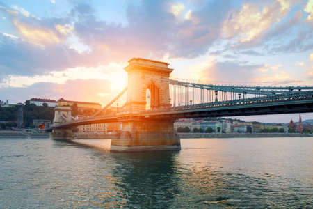 Chain bridge on Danube river in Budapest city. Hungary.