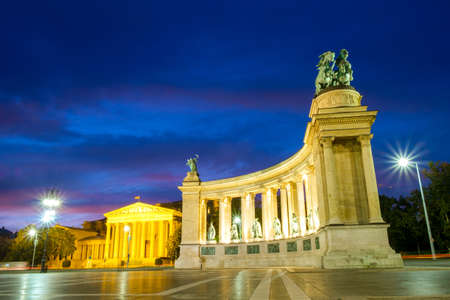 Evening View. Heroes Square monument in Budapest, Hungary Editorial