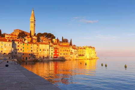 Beautiful sunset at Rovinj in Adriatic sea coast of Croatia, Europe
