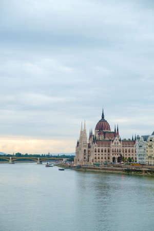 Hungarian parliament building and Danube river, Budapest, Hungary Stock Photo