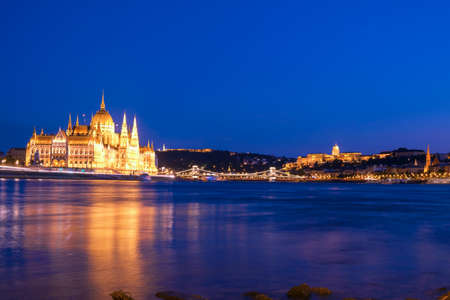 Beautiful nights view of Parliament and Chain Bridge in Budapest, Hungary