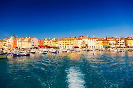 Harbour and marina in wonderful romantic old town of Rovinj Istrian Peninsula,Croatia,Europe Banco de Imagens