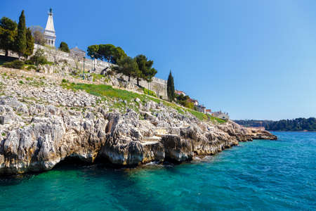 Panoramic view at the old village of Rovinj Istria Croatia 스톡 콘텐츠