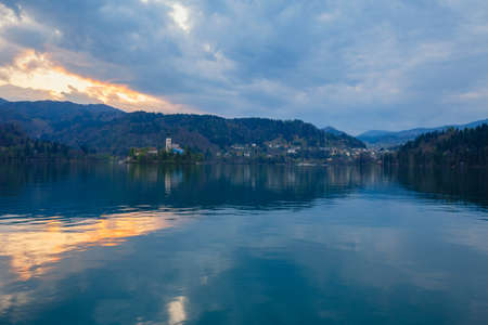 View of famous island and Church of Bled by night in Slovenia, Europe