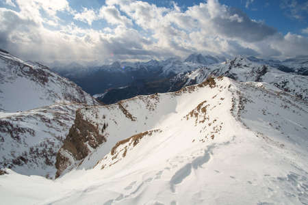 Mountains snow landscape on the northern Italy Dolomites