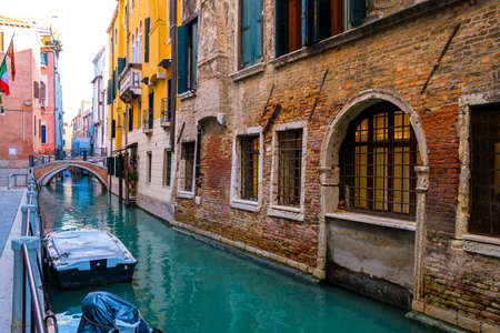 Typical Venice narrow water canal and old traditional colorful buildings. Italy, Europe. Banque d'images