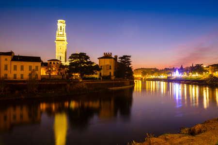 Verona by night with the Dom Santa Maria Matricolare, Verona, Italy Stock Photo