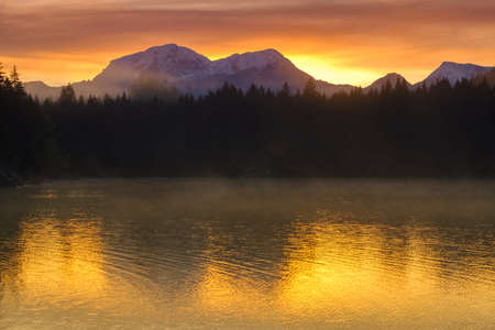 Amazing sunrise of Hintersee lake of Bavarian Alps on the Austrian border, Germany, Europe