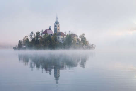 Lake Bled with the church on a calm autumn morning