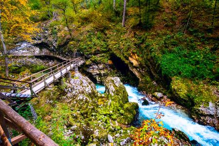 Beautiful famous Vintgar Gorge near Bled, Slovenia Imagens