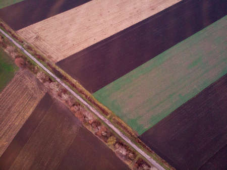 Aerial drone image view of plowed field in Hungary Standard-Bild
