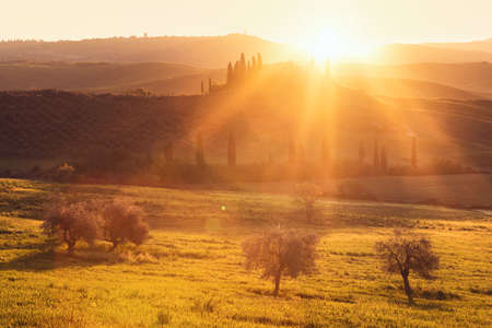 Sunrise morning in the most picturesque part of Tuscany-Italy